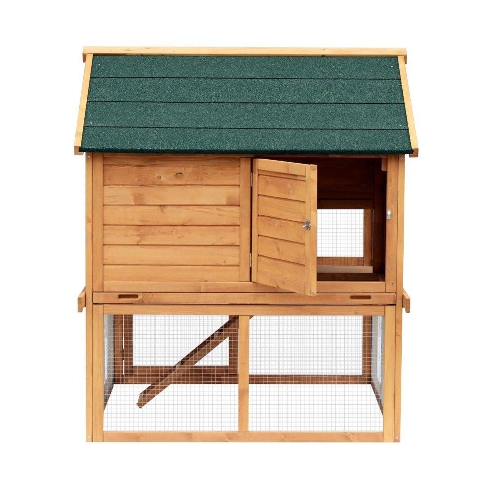 Pawhut Double Tier Waterproof Wooden Chicken Rabbit Ark Cage Ramp