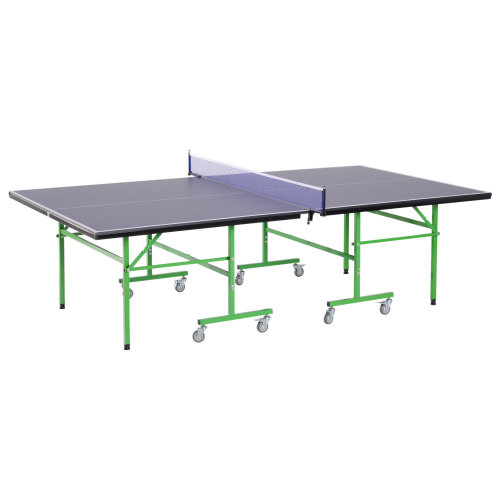 HOMCOM Full Size Folding Tennis Ping Pong Table Game Room Gym Metal Frame on Wheels