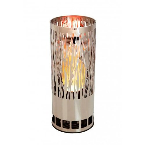 Silk Flame Effect Lamp - Round VINE BRAZIER in Silver