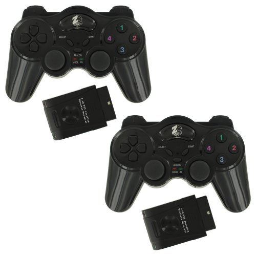 2 x Assecure Wireless RF Vibration Game Controller Gamepad For Playstation 2 PS2 PS1 Double Shock - Twin pack