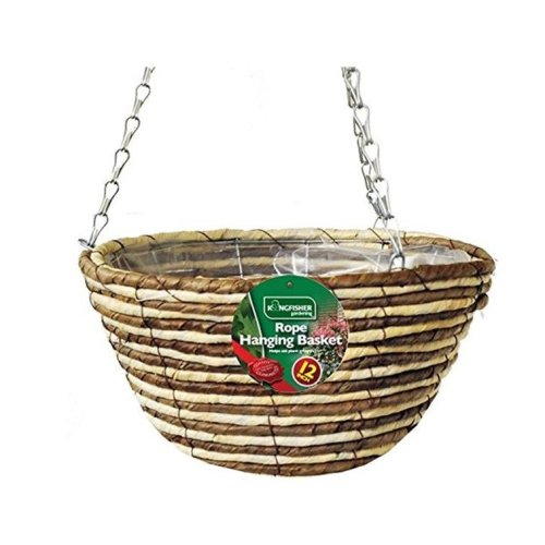 1 X Kingfisher Hb12Rr 12-Inch/30  cm Rope Hanging Basket - Beige