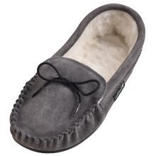 Mens Suede Moccasin Slippers with PVC Sole