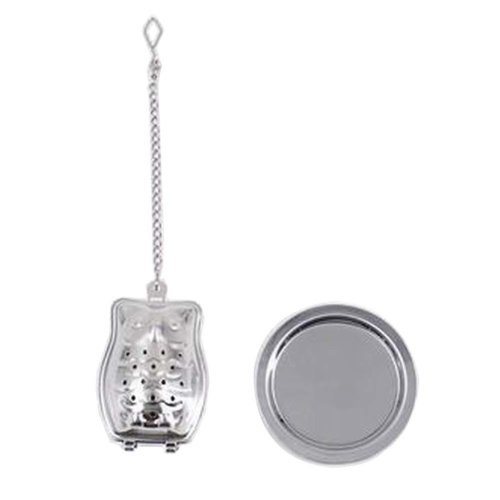 [Silver Owl] Creative Spice/Tea Ball Strainer Tea Filter With Drip Trays