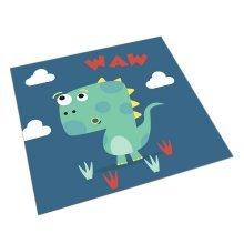Square Cute Cartoon Children's Rugs, Dark Blue And Cartoon Dinosaurs