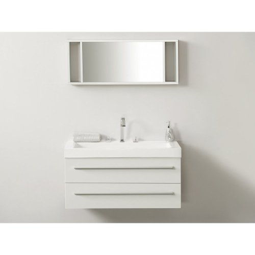 Free Floating Bathroom Vanity Set with 2 Drawers and Mirror - BARCELONA