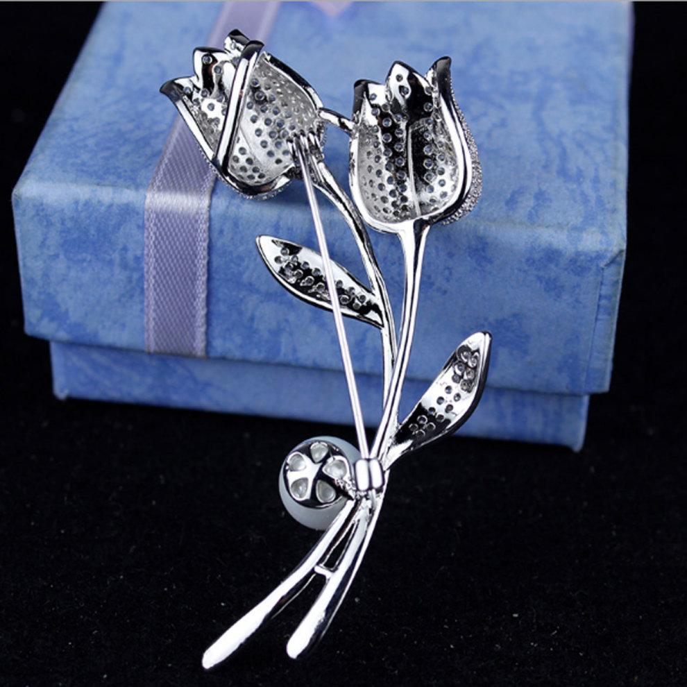 8296ee5b1ef ... Grey Flower Brooch Pins Jewelry Pearl Gold Brooch for Women Dress - 1  ...