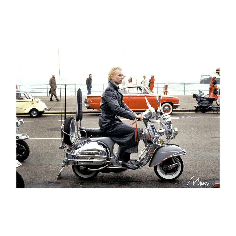 112bf2d84 ... Richard Mann Official Photography - Sting On A Moped In Quadrophenia Men's  Baseball Long Sleeved T ...