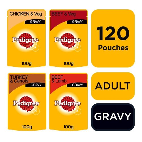 Pedigree Adult Wet Dog Food Pouches Mixed Selection in Gravy 120x100g Pouches