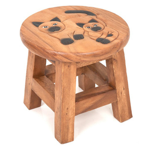 Childs Stool Double Black Cats