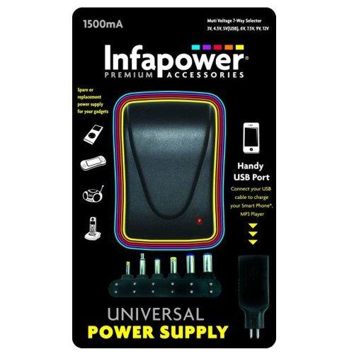 Infapower P003 Handy 1500mA 7-Way Universal Power Supply AC/DC USB Adaptor