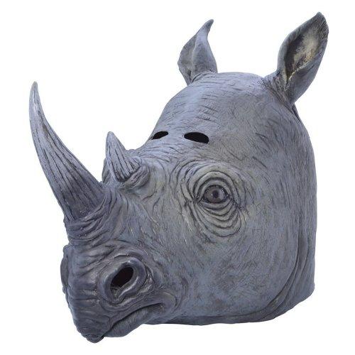 Rhino Rubber Overhead Mask - Fancy Dress Animal Costume Accessory -  mask fancy dress rhino animal rubber overhead costume Rubber accessory