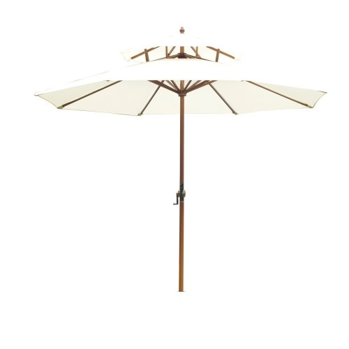Outsunny Wooden Parasol Canopy with Handle in Cream