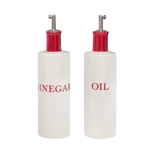 Hollywood Oil & Vinegar Set, Red & White