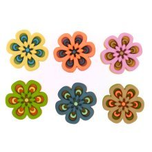 Morning Mist - Flower Shaped Novelty Craft Buttons / Embellishments by Dress It Up