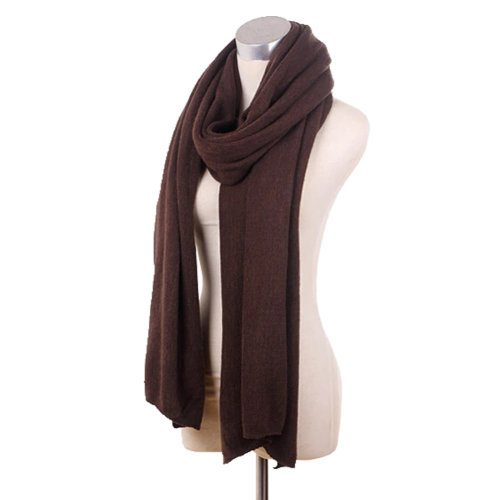 Lady's Stylish Pure Colour Scarves Luxurious Pashmina Scarf Knitted scarf Brown