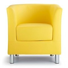 Sagony Designer Modern Tub Chair Yellow Padded Seat Chrome Legs