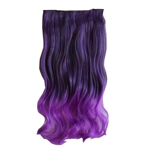 Elegant Purple Synthetic Curly Wave Women Hair Extension