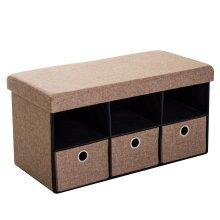 Homcom Foldable Ottoman Bench with 3 Drawers