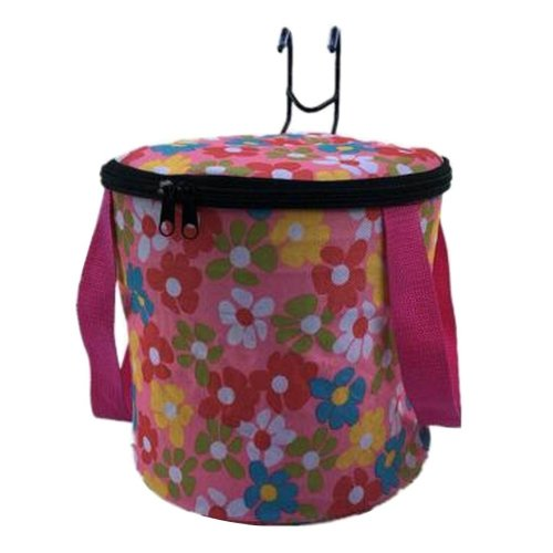 [Flower-1] Waterproof Canvas Bicycle Basket Foldable Lidded Basket for Bike