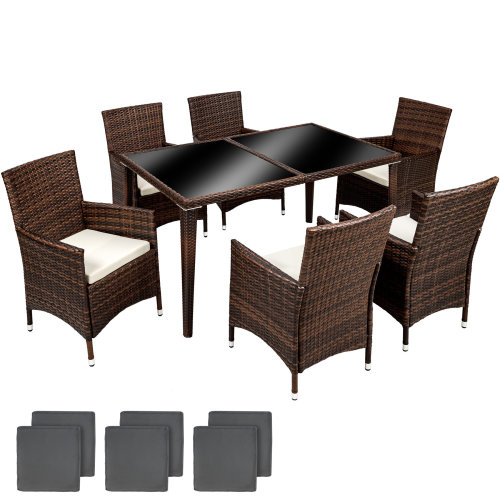 56f7f1be104c Rattan chair set 6+1 aluminium black/brown on OnBuy