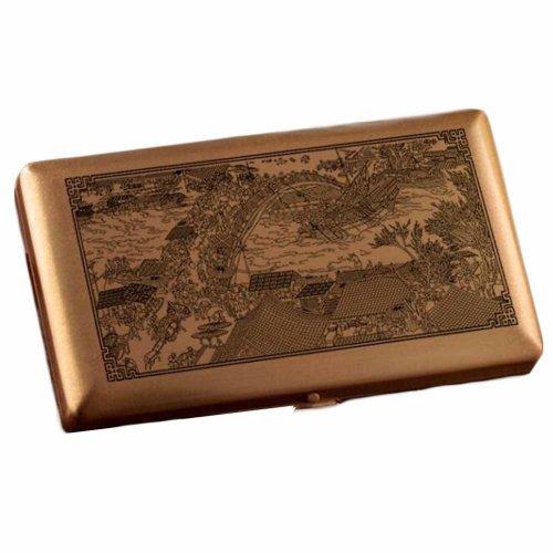 Chinese Painting Copper Brass Metal Cigarette Case Holder Box Card Case Slim Portable Cigarette Box