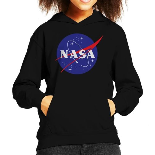 (Medium (7-8 yrs), Black) The NASA Classic Insignia Kid's Hooded Sweatshirt