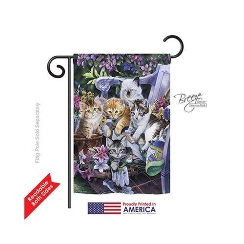 Breeze Decor 60047 Pets Purfect Gardening Buddies 2-Sided Impression Garden Flag - 13 x 18.5 in.