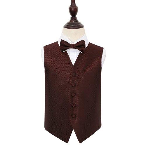 Burgundy Greek Key Wedding Waistcoat & Bow Tie Set for Boys 26'