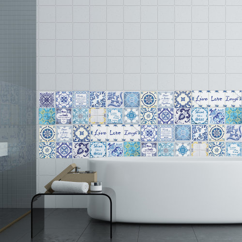 Walplus Tile Sticker Blue Mosaic Wall Sticker Decal (Size: 10cm x 10cm @ 24pcs)