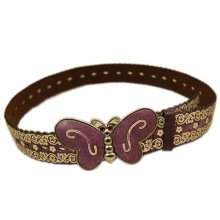 Women Fashion Floral Belt  Decorative Belt Butterfly Belt Buckle [Coffee]