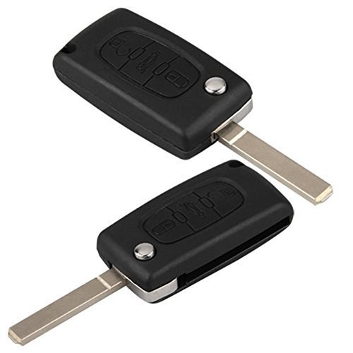 PIXNOR Replacement 3 Buttons Remote Key Shell with Flip Blade for Peugeot