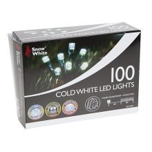 Snow White 100 Cold White LED String Fairy Lights For Xmas Tree Party Wedding - -  white 100 cold led lights fairy xmas christmas snow string tree