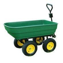 Homcom Large Garden Cart | Green Wheelbarrow Trailer 125L