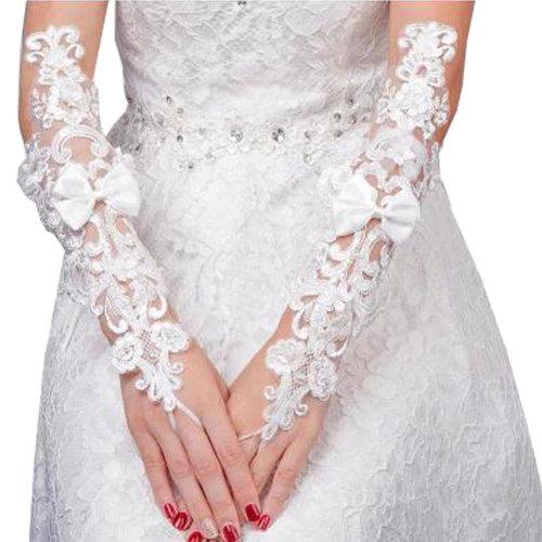 Elegant Lady Formal Banquet Party Bride Pierced Lace Wedding Gloves Bridal Gloves, NO.30