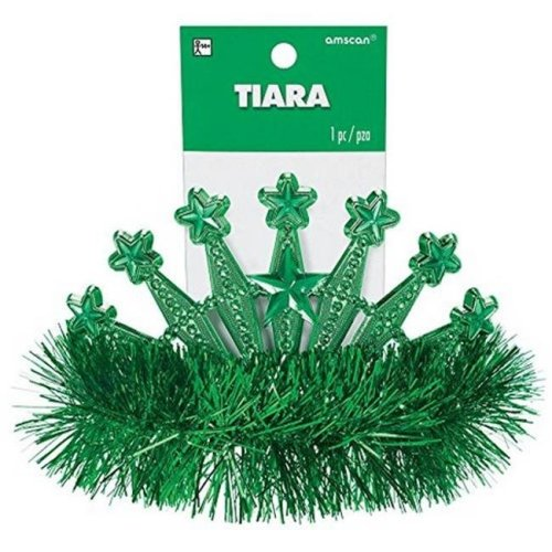 Amscan 395896 Star Tinsel Tiara, Rainbow - Pack of 9