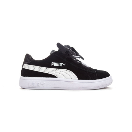 Puma Smash V2 Ribbon Suede Infant Girls Trainer Shoe Black/White