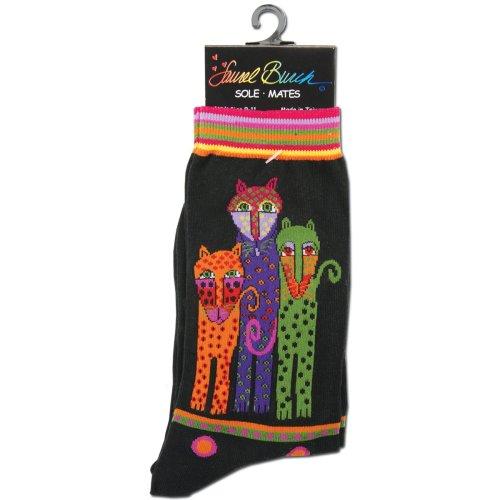 Laurel Burch Socks-Polka Dot Leopard - Black