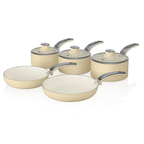 Swan Retro Pan Set with Easy Clean Non-Stick Ceramic Coating, Aluminium, Cream, 5 Piece