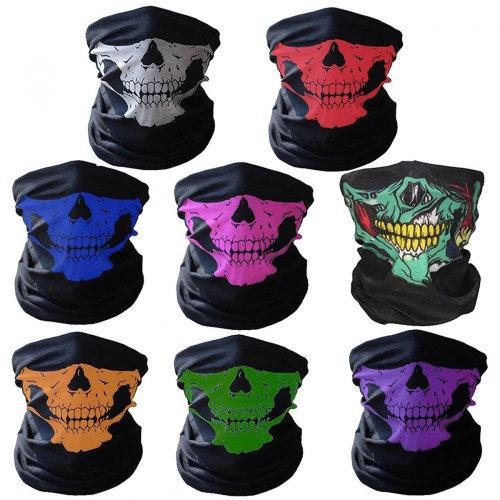 8pc Skeleton Balaclava Biker Masks | Multicoloured Skull Neck Tubes