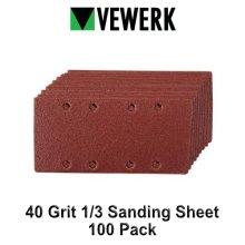 VEWERK 40 Grit Sanding Sheet 1/3 Sander Hook and Loop 100pk 8176