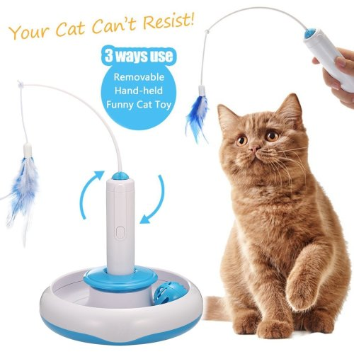Cat Interactive Toy, Focuspet Cat Feather Toy Electric Rotate Teaser Kitten Toy with Bell Ball Funny Pet Cat Play Toy Automatic Entertainment...