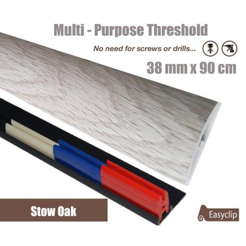 Stowe Oak Multi Purpose Threshold Strip 38x90cm Adhesive Clip System