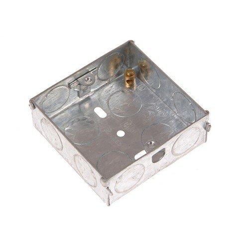 SMJ MBS16C Metal Back Box 1 Gang 16mm Depth - Carded