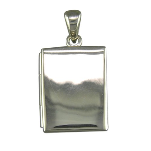 Childrens Sterling Silver Plain Oblong Book Locket On A Curb Necklace