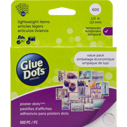 """Glue Dots .5"""" Poster Dot Sheets Value Pack-600 Clear Dots"""