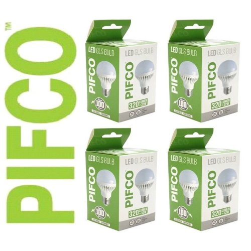 4 X PIFCO 5 Watt E27 ES LED GLS 320 Lumen Energy Saving Warm White Light Bulbs