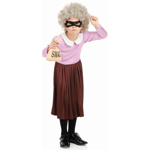 (Medium) Kids Burglar Granny Costume