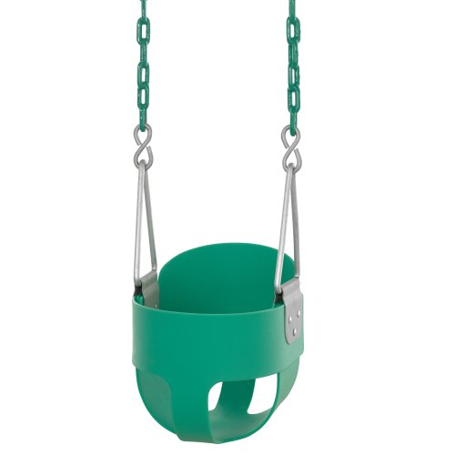 Swingan - High Back, Full Bucket Toddler & Baby Swing - Vinyl Coated Chain - Fully Assembled - Green, Orange, Yellow, Black, Blue or Red