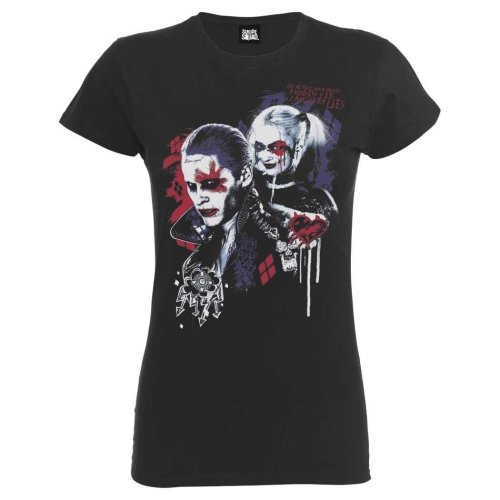 Small Black Dc Comics Suicide Squad Harley's Puddin Ladies T-shirt. -  official womens charcoal dc suicide squad harley puddin fitted tshirt tee