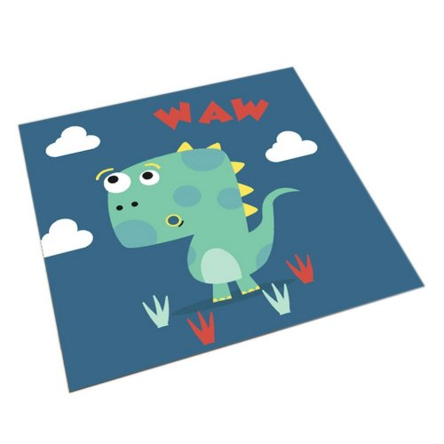 Square Cute Cartoon Children's Rugs, Dark Blue And Cartoon Dinosaurs